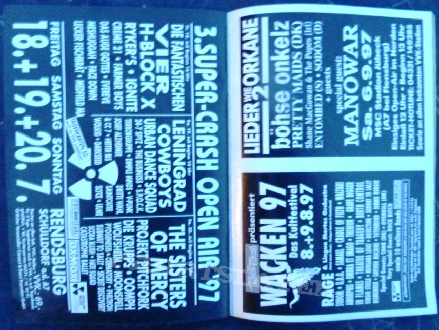 DYNAMO OPEN AIR 1997 $400 Suits, Amorphis, Backfire!, Coal Chamber, Cradle of Filth, Deviates, Dimmu Borgir, Discipline, Entombed, Exodus, Goddess of Desire, Helmet, I Against I, Karma to Burn, Keaton (artist), KoRn, Laberinto, Machine Head , Marilyn Mans
