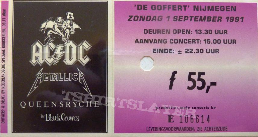 monsters of rock concert ticket AC/DC , metallica , Queensryche , the black crawes