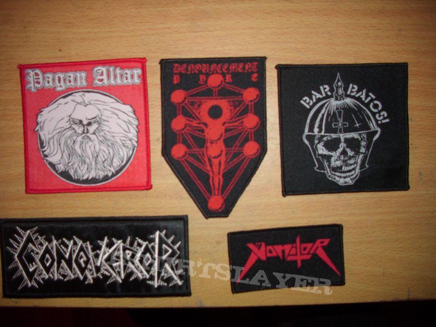 Pagan Altar, Denouncement Pyre, Barbatos, Vomitor, Conqueror Patches
