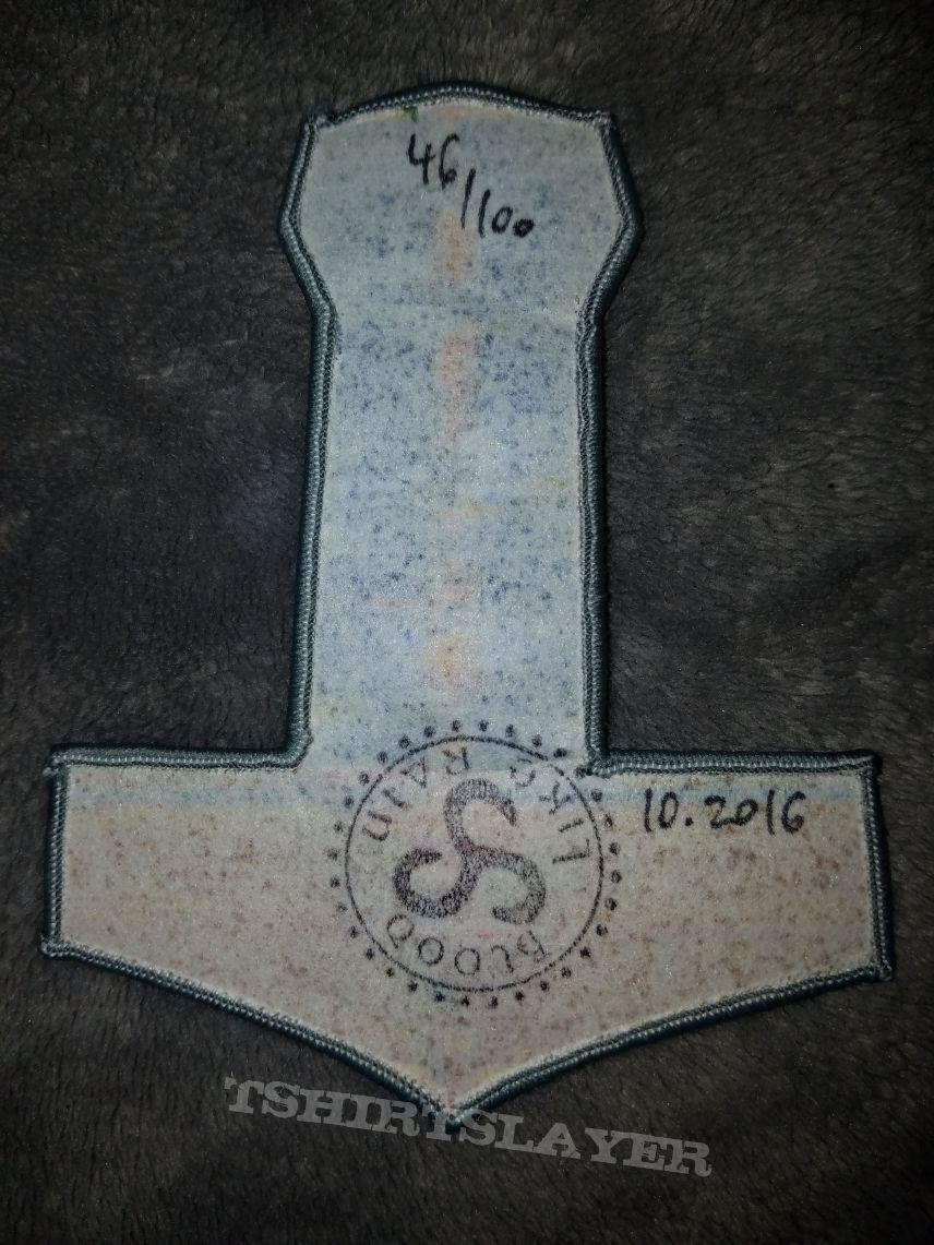 Mjölnir shaped Bathory - Blood on Ice woven patch.