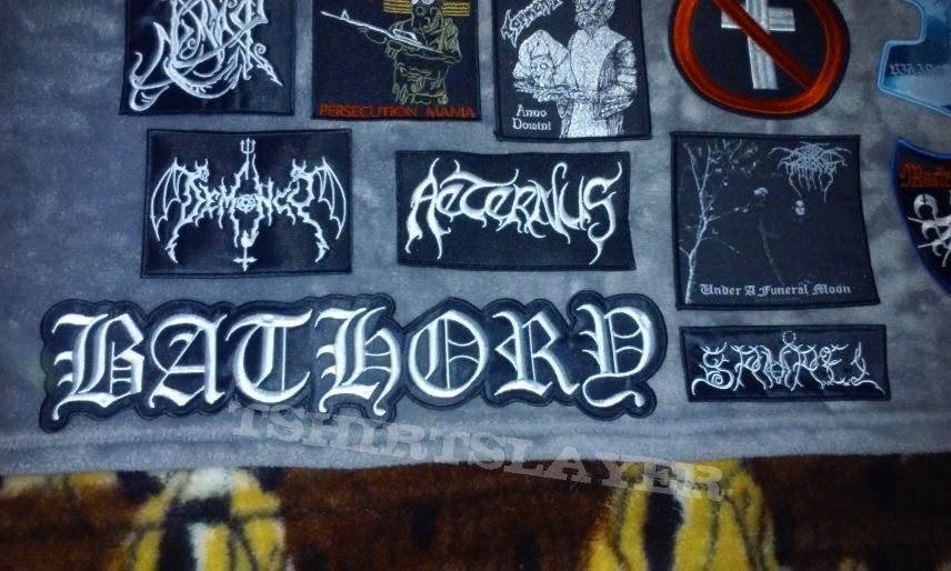 Embroidered and woven patches for my Black Metal/Blackened Thrash Metal/Black-Thrash Metal vest.
