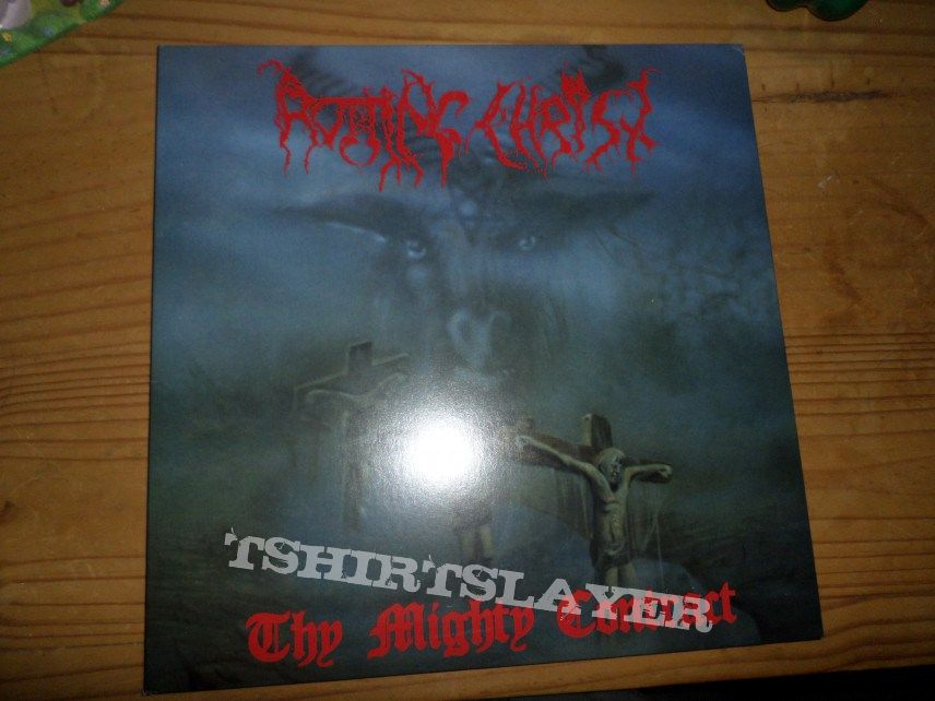 "2011 Black Vomit Records gatefold reissue of Rotting Christ's Thy Mighty Contract on 12"" black vinyl."