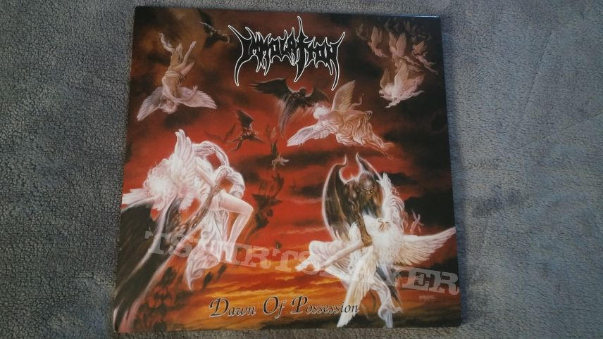 """Listenable 2015 reissue of Immolation's Dawn of Possession on transparent 12"""" red vinyl."""