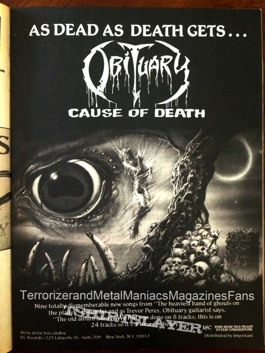 Obituary  - Cause Of Death by Blue Grape Merchandising 1994
