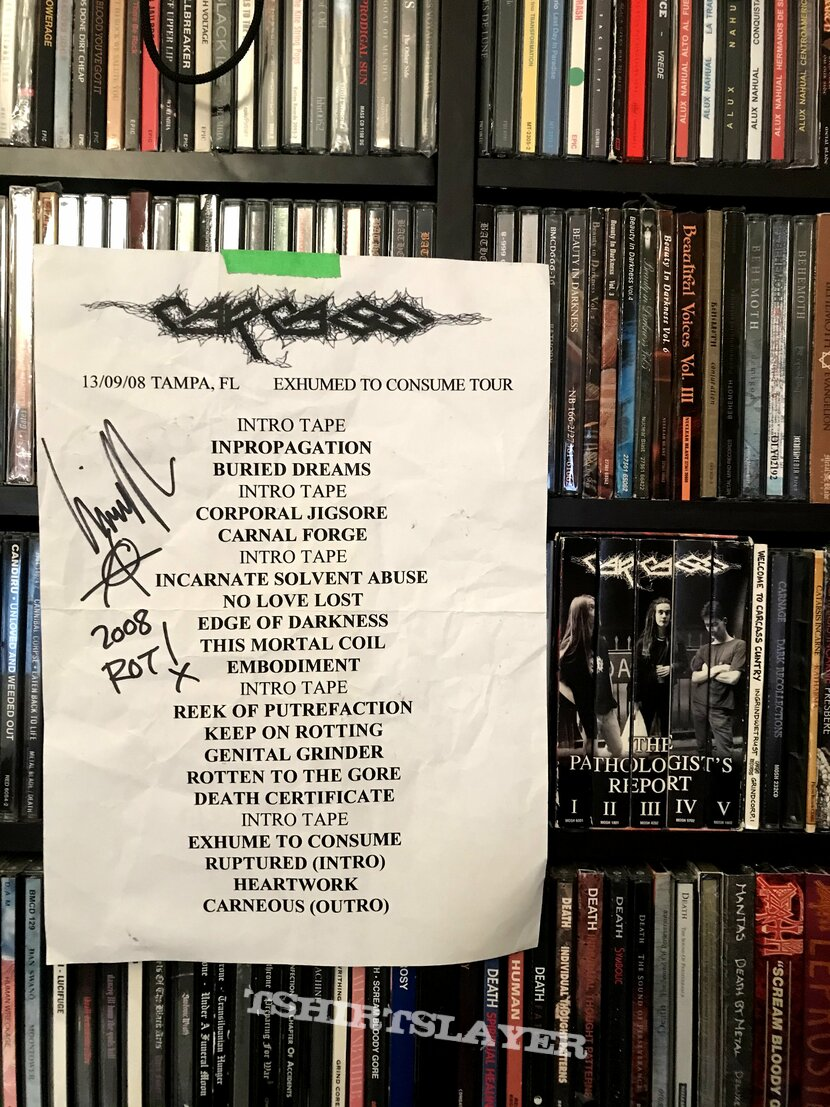 Carcass - Exhumed to Consume  Reunion Tour 2008 SET LIST