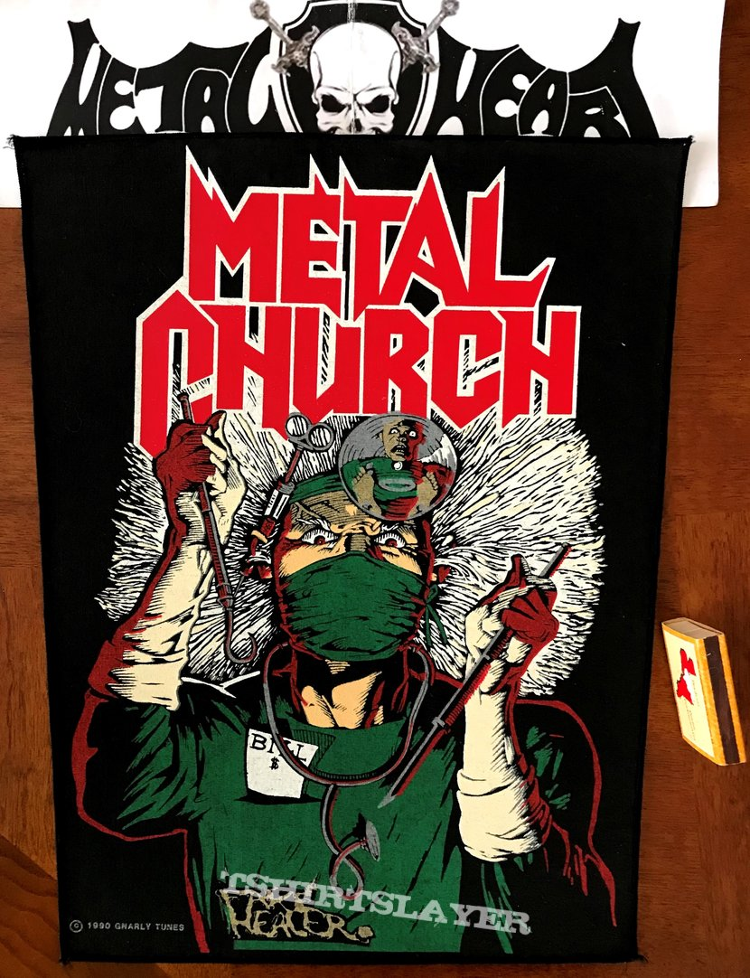 Metal Church - Fake Healer Backpatch ©️ 1990 Gnarly Tunes