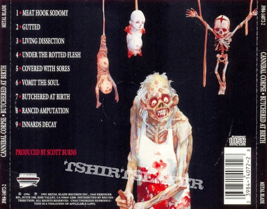 Cannibal Corpse - Butchered At Birth 1992 With USA tourdates & Collection