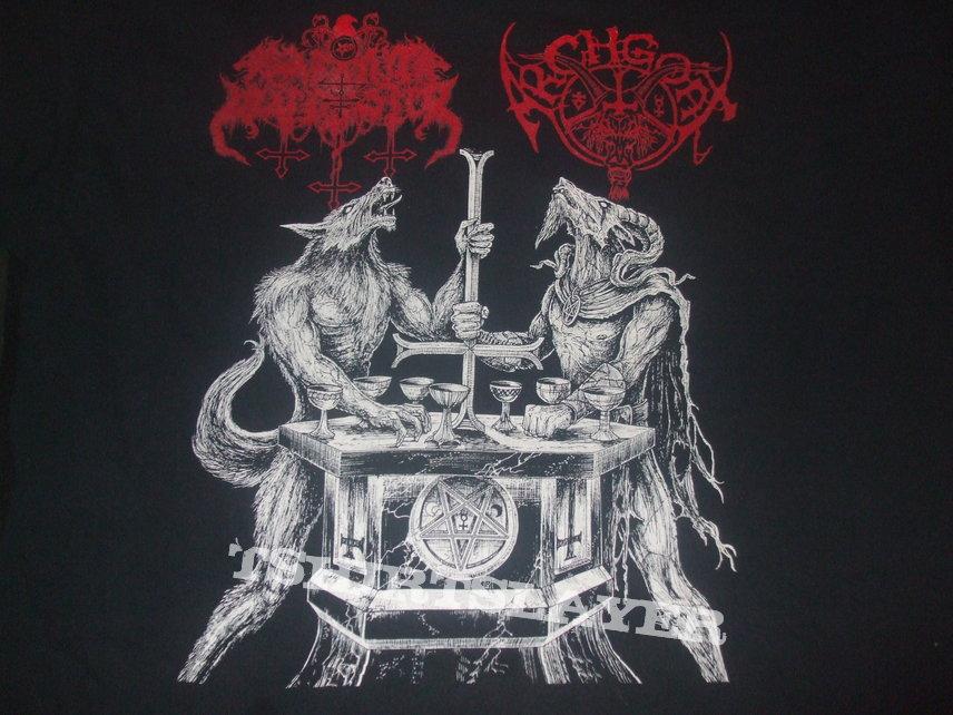 "ARCHGOAT/SATANIC WARMASTER ""Lux Satanae"" (thirteen hymns of Finnish devil worship) band shirt"