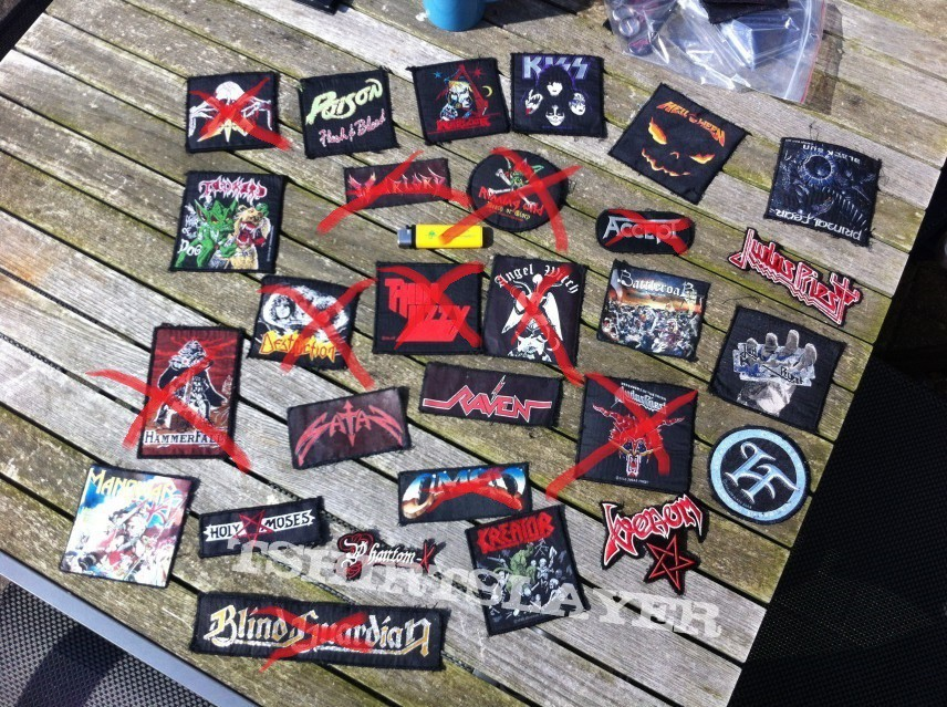 Searching for Candlemass, Helstar and Uriah Heep patches. Patches on the second picture are for sale or trade.
