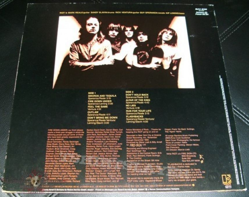 Other Collectable - Riot - Fire Down Under Original LP