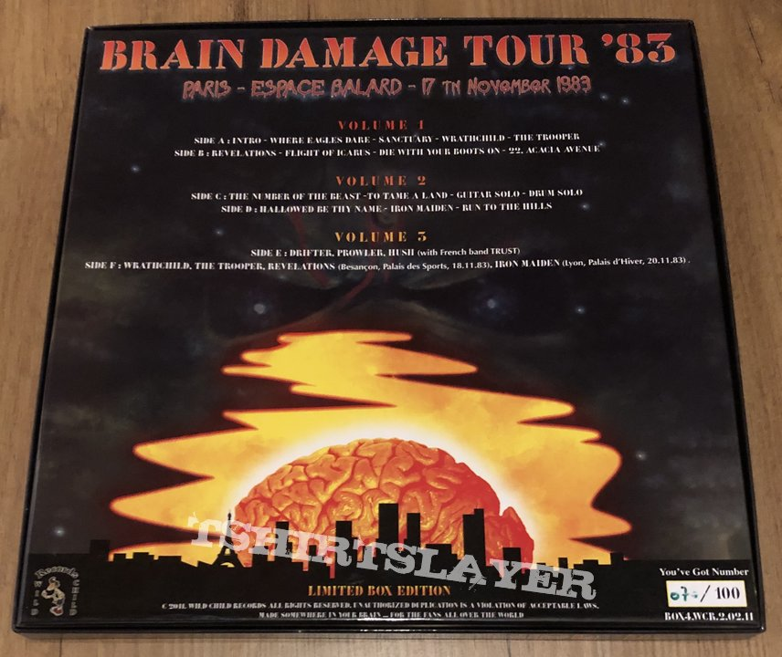 iron Maiden 3 lp boxset on coloured vinyl Over the Battlefield Brain Damage Tour 1983