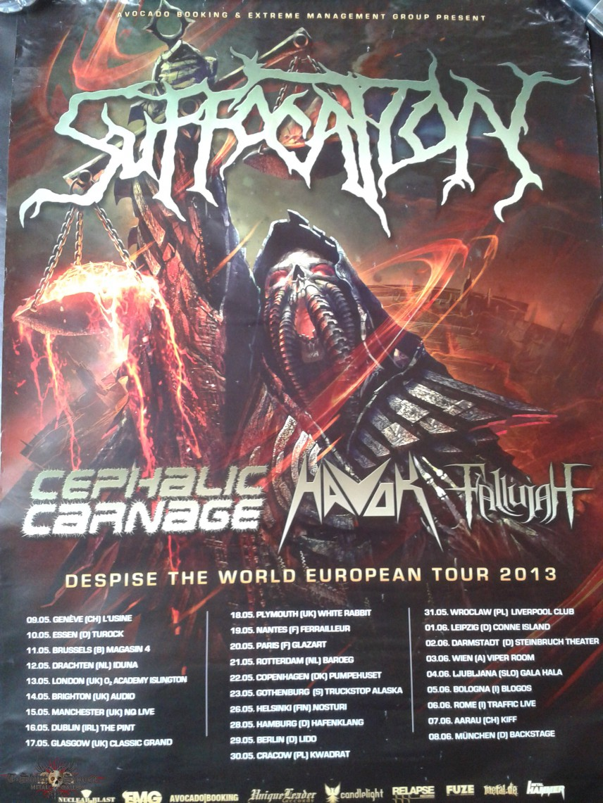 Poster Despised The World Tour 2013 /w Suffocation, Cephalic Carnage, Havok and Fallujah
