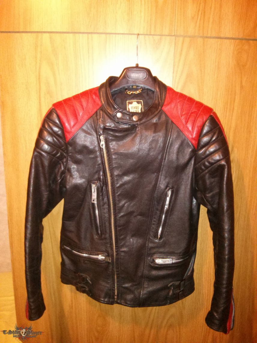 Real 80s Vintage Black And Red Biker Leather Jacket 46 S