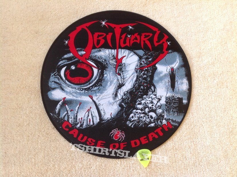 Obituary - Cause Of Death - Circle Woven Backpatch - Black Border