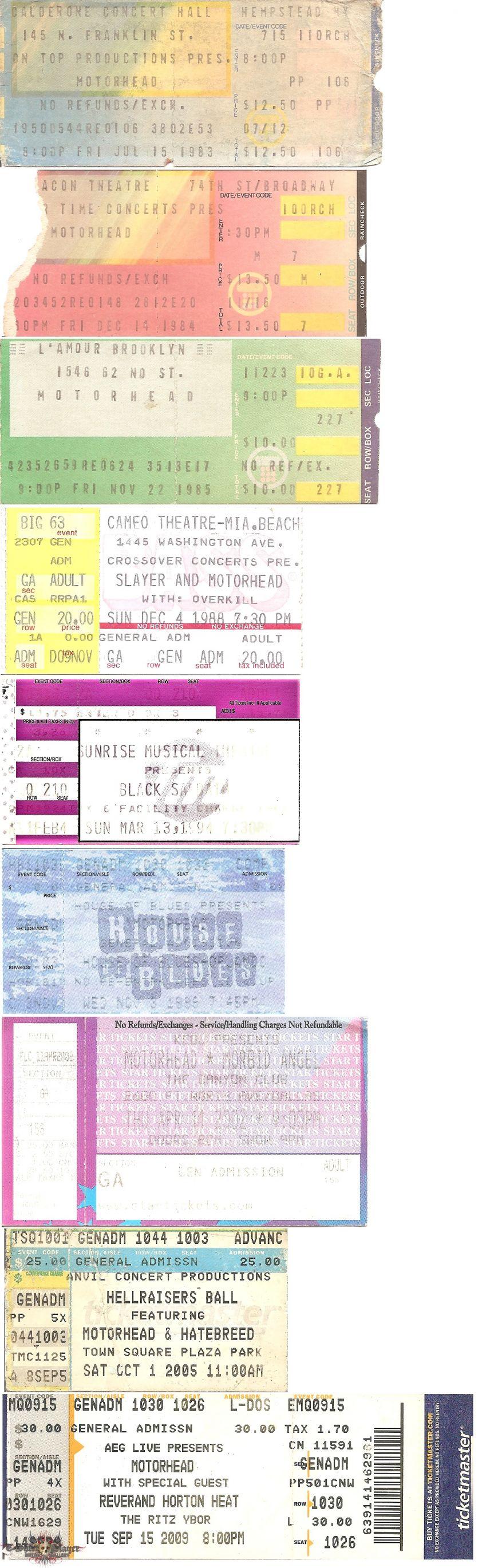 Motörhead - Ticket Stubs (1983 - 2009)