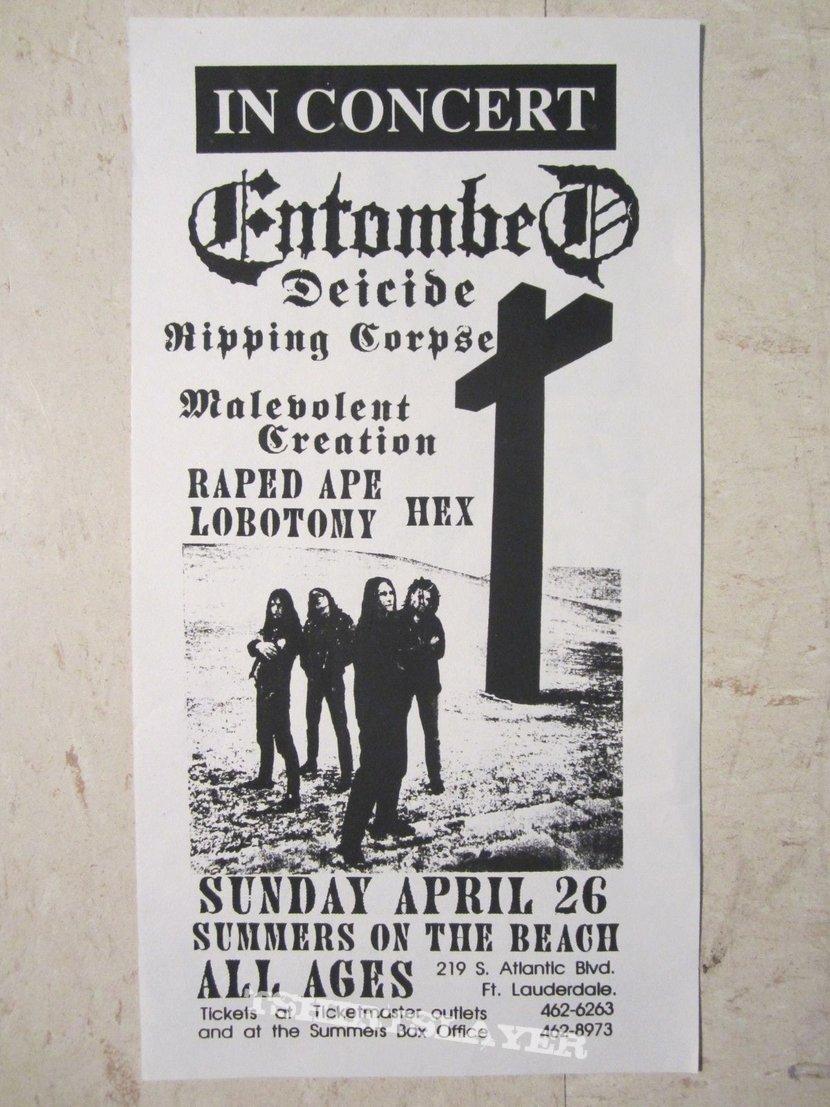 Entombed - Clandestine tour flyer (No Alcohol gig)