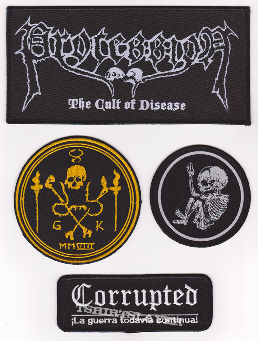 Assortment of patches (Corrupted, Cannibal Corpse, Grave Upheaval & Procession)