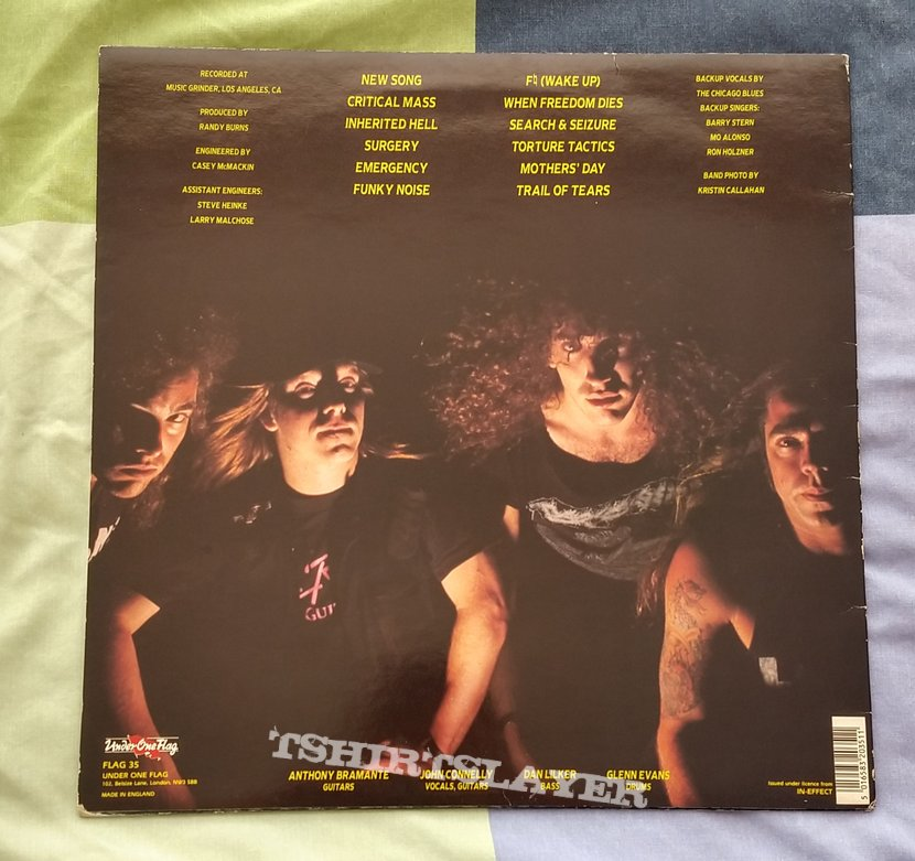 Nuclear Assault - Handle With Care Vinyl. 1st English edition signed by John Connelly & Dan Lilker