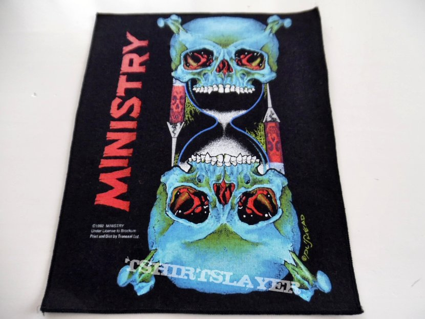 MINISTRY  skulls vintage 1992 back patch bp141 new off.brockum patch
