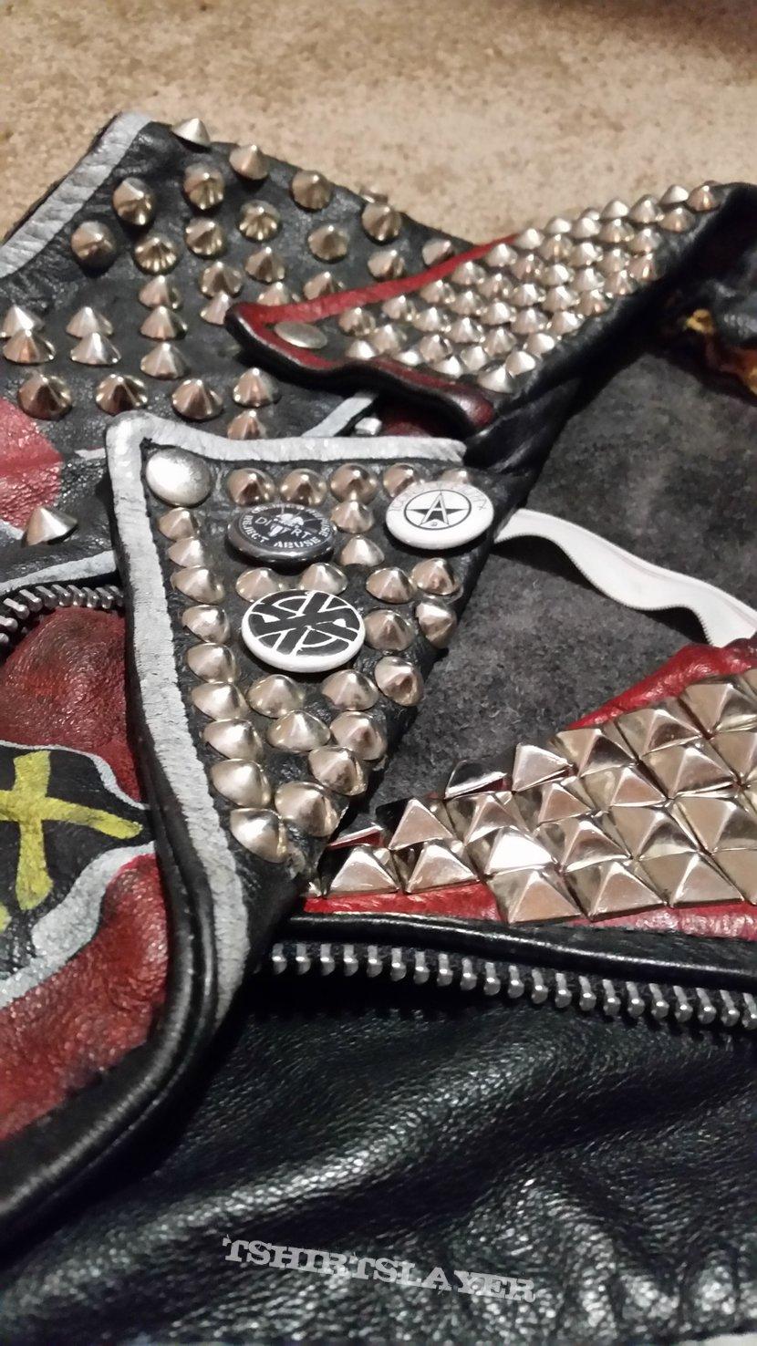 gutter punk studded leather vest