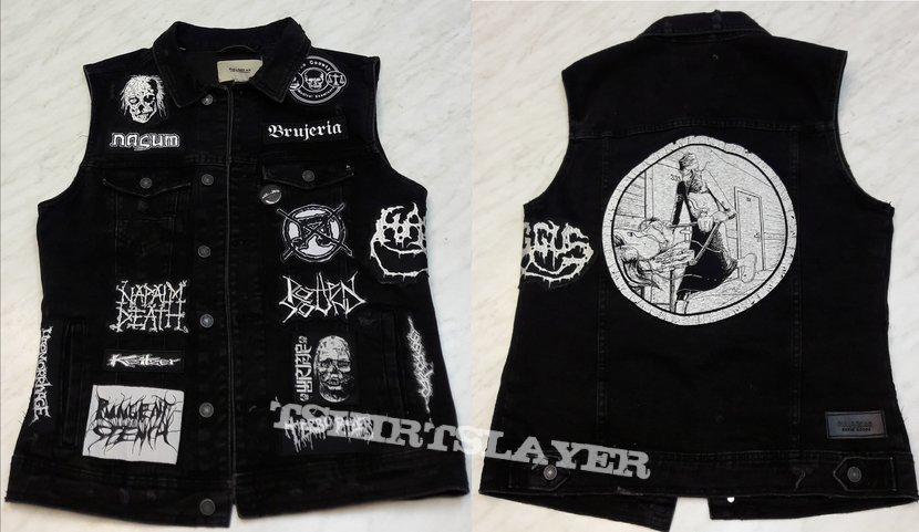 Black and White Grindcore Battle Jacket (WIP)