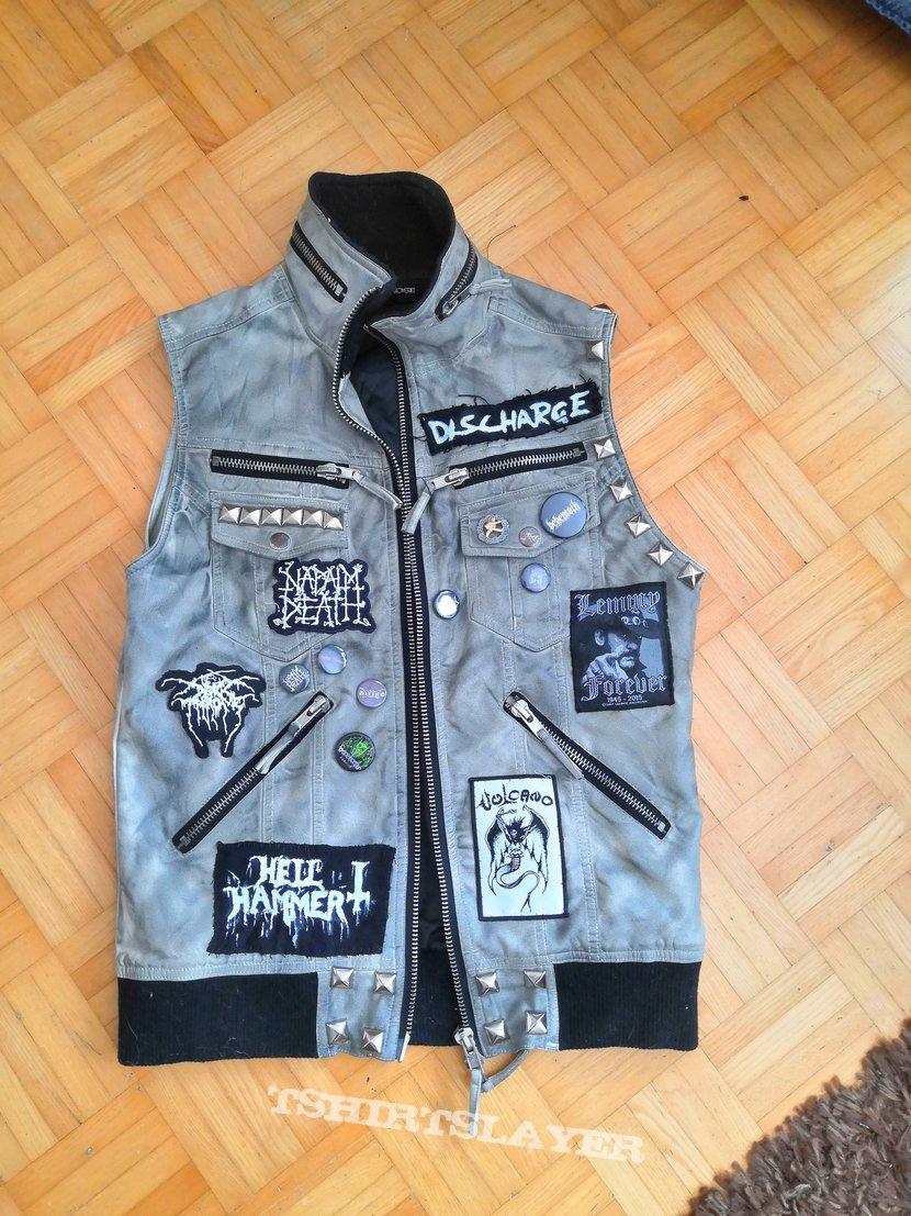 Metal punk leather vest