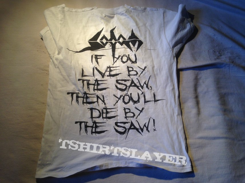 Sodom - The Saw is the Law white t-shirt