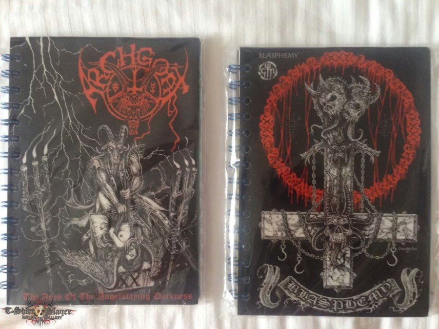 Archgoat and Blasphemy notebooks from Ecuador