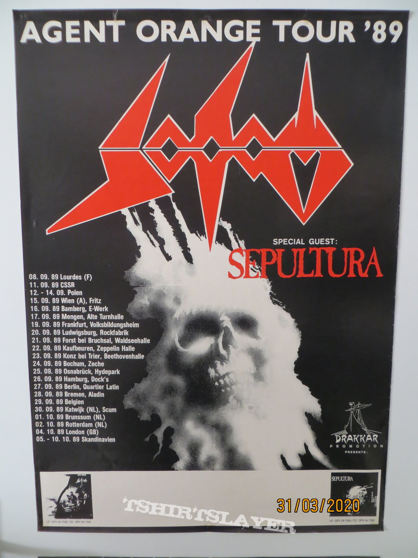 Sodom - Agent Orange Tour with Sepultura 1989 Poster