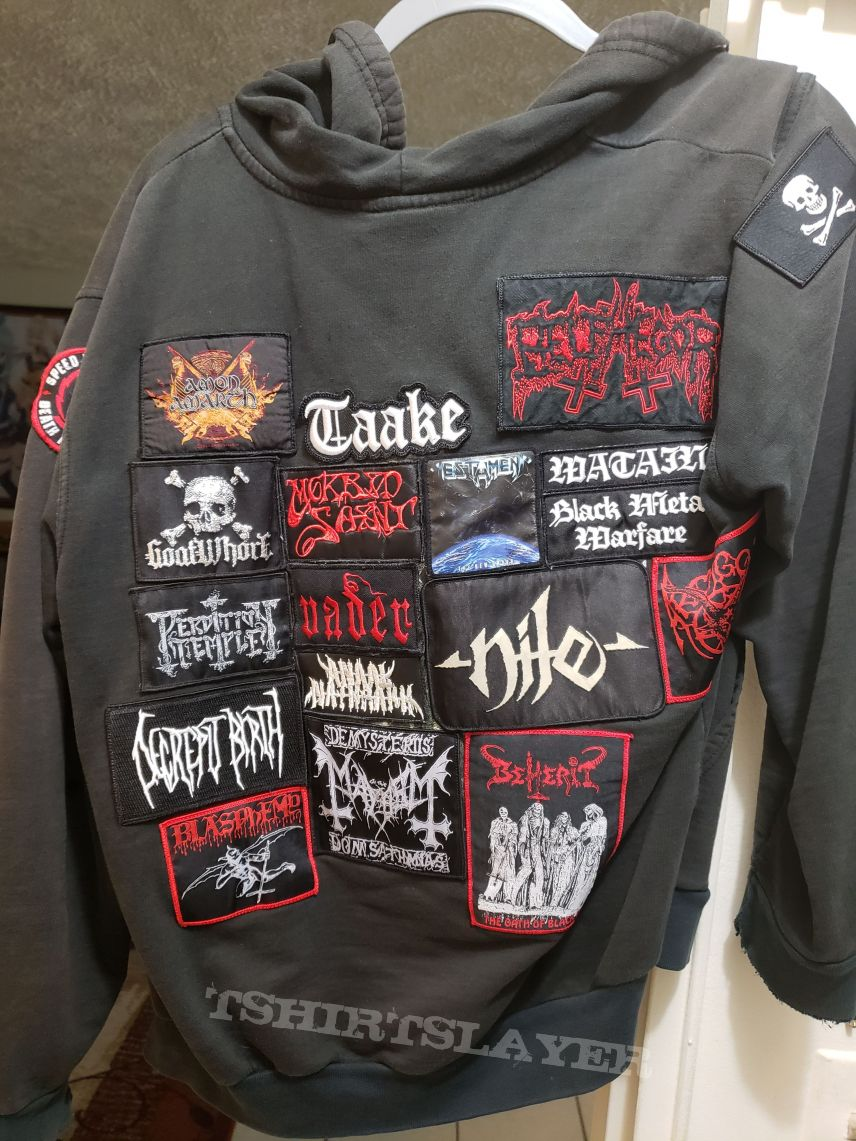 Old hoodie with patches