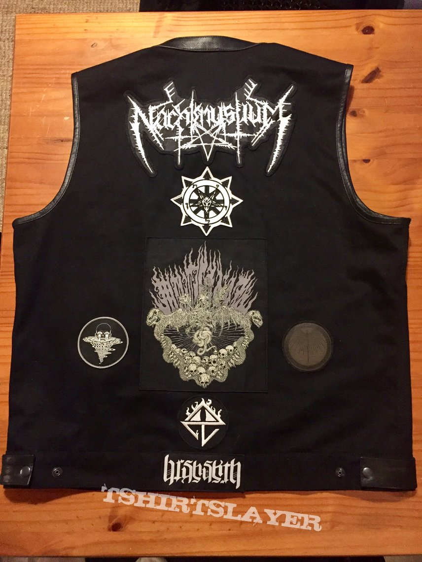 Finally finished black denim and leather battle vest.