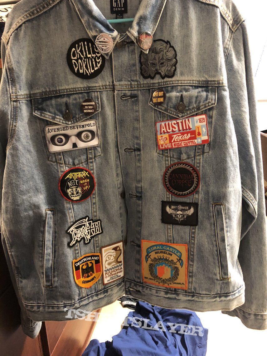 Jacket of patches/pins with meaning to me