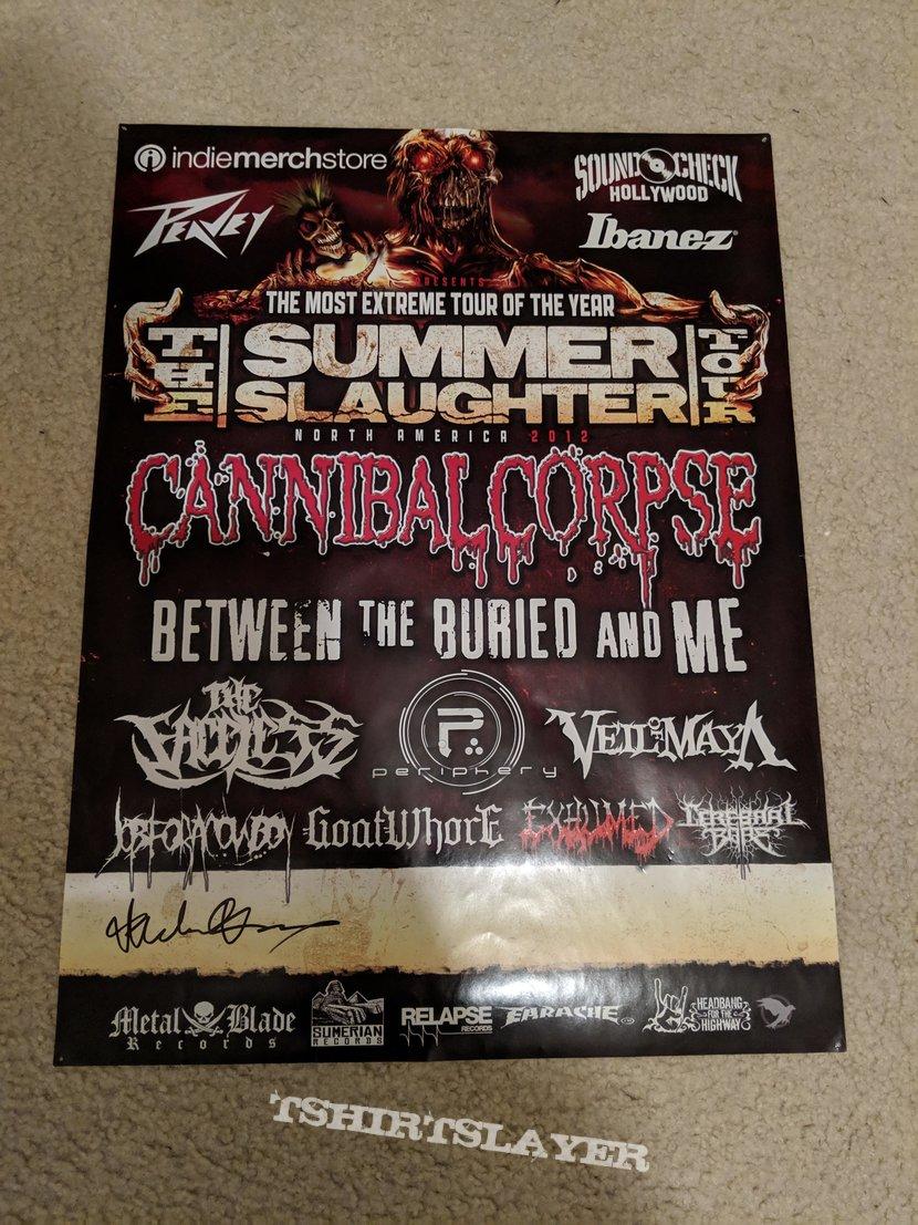 Summer Slaughter 2012 signed tour poster