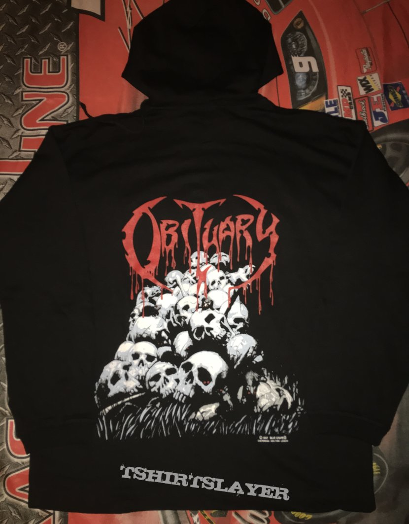 Obituary 'Pile Of Skulls' Hooded Top