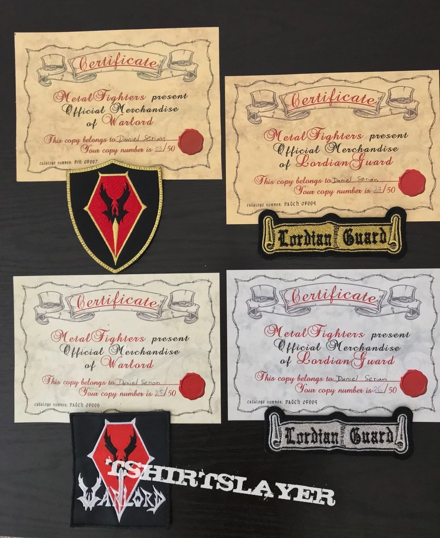 Official Warlord and Lordian Guard patches and pin.