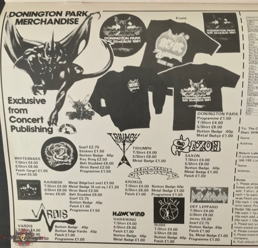 Donington Park 1981 merchandise from Kerrang Nov. 1981