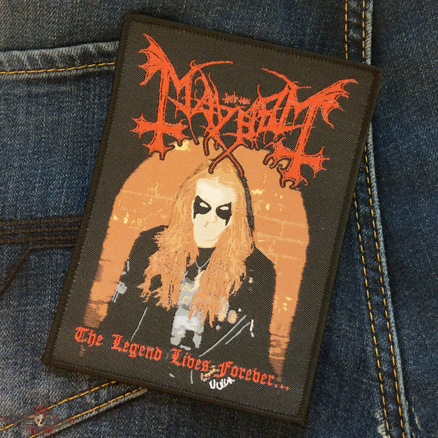 MAYHEM - The Legend Lives Forever... 100x138 mm (woven)