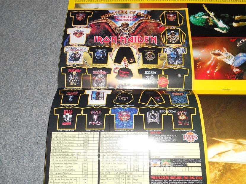 Iron Maiden, Monsters Of Rock 92 Donington tour program and merch sheet.