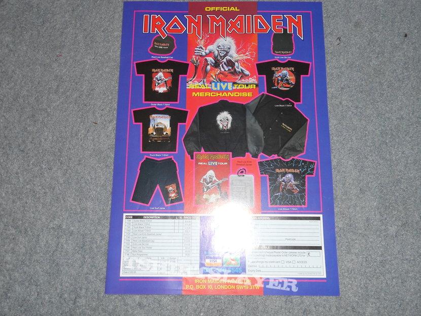 Iron Maiden, A Real Live Tour, program and merch sheet