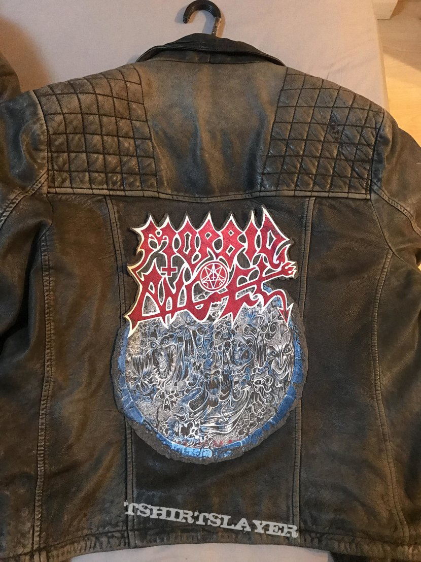 Leather Biker Jacket / Morbid Angel Backpatch