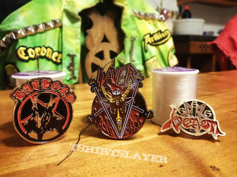 Bathory, Slayer & Venom Coloured Metal Pins