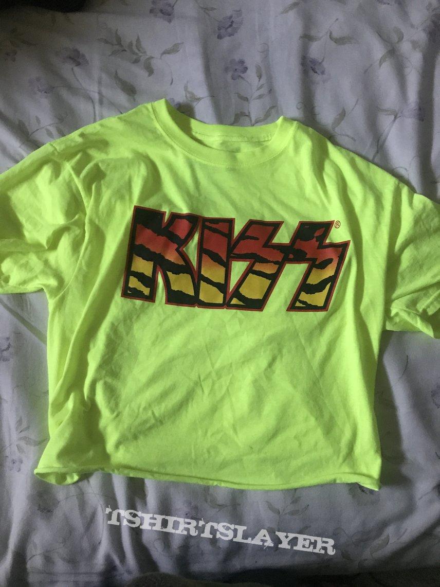 Kiss Neon Yellow/Tiger Print Logo Tee Size M