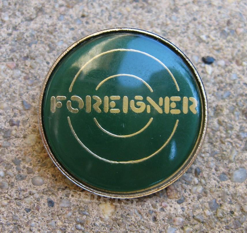 FOREIGNER Logo vintage crystal/enameled badge (green background) *GONE*