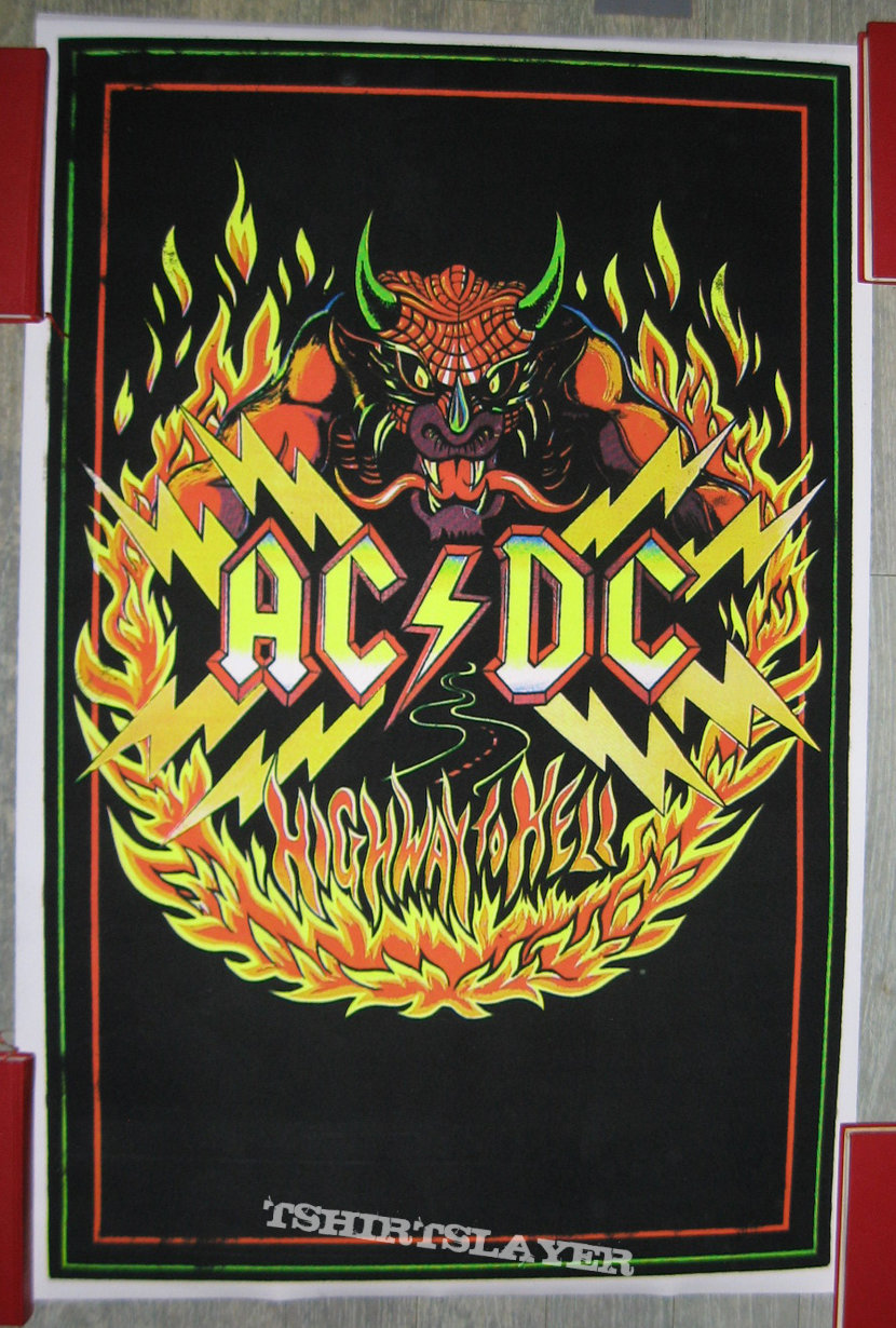 AC/DC Highway To Hell vintage black light poster