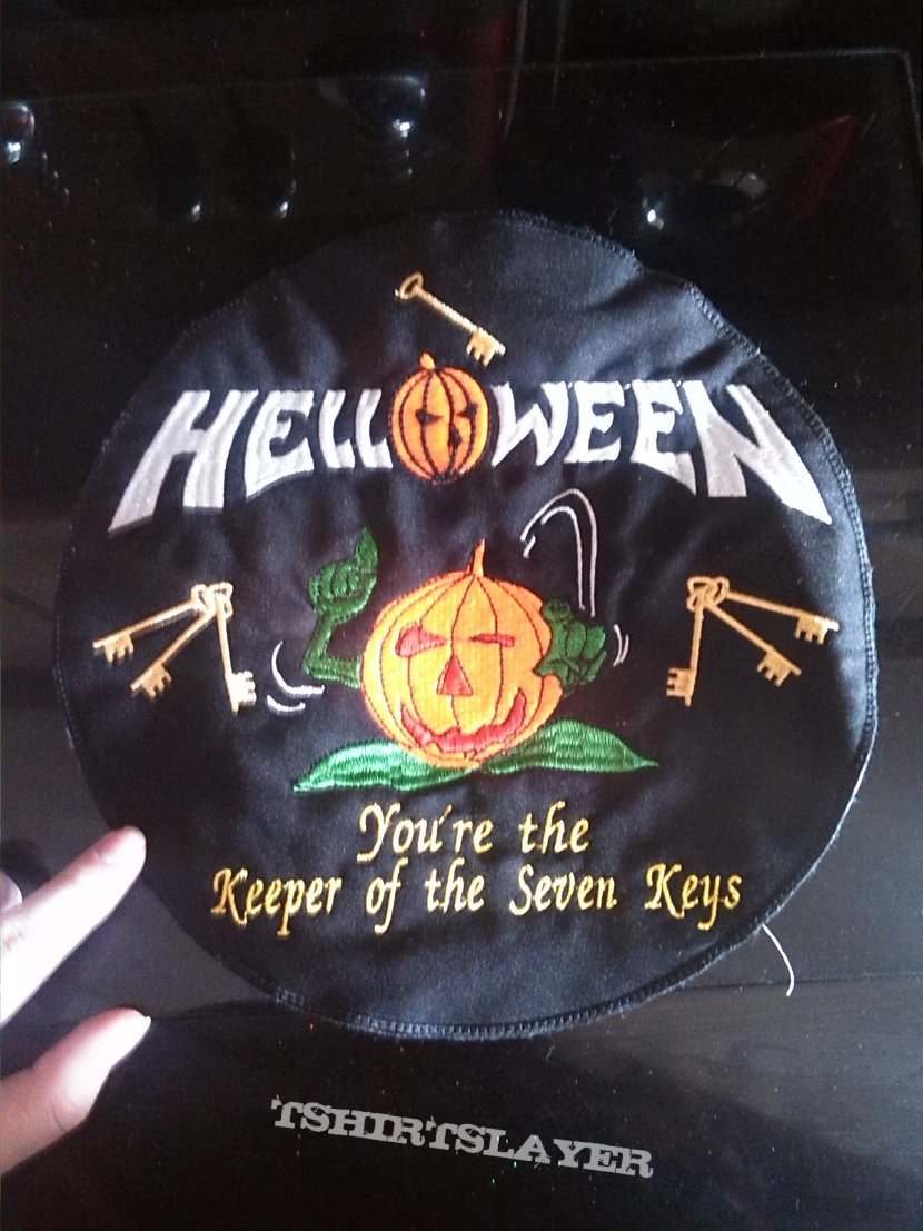 Helloween embroidered round backpatch.