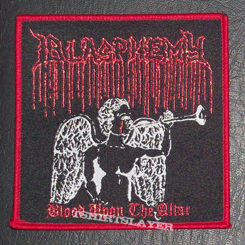 BLASPHEMY Woven Patch Red Border