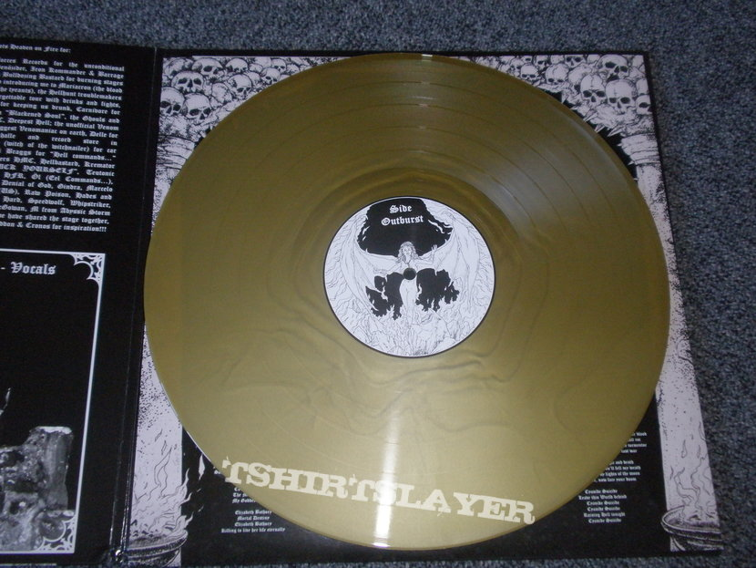 Burstin Out-Outburst of Blasphemy LP with patch, posterflag