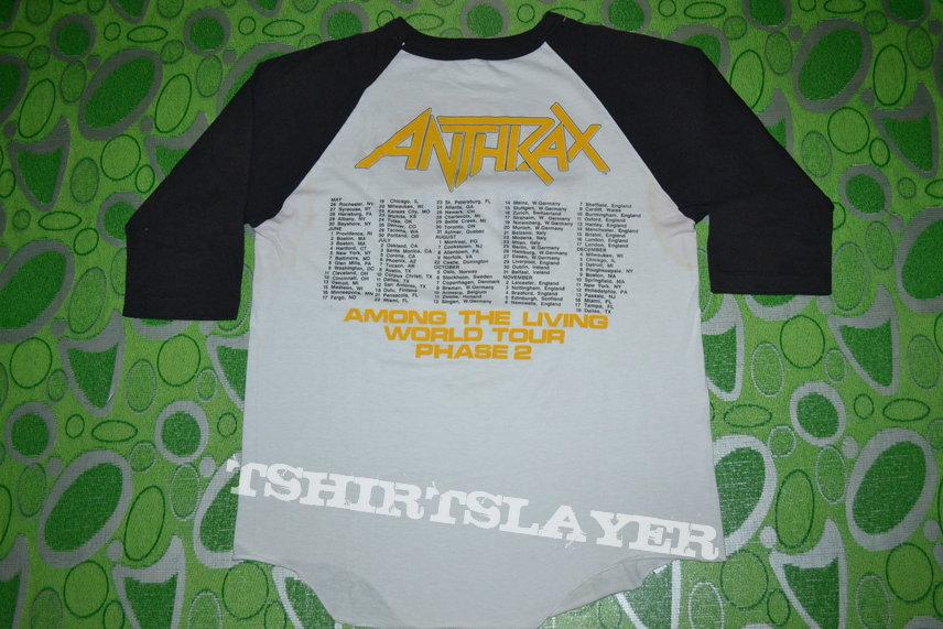 ANTHRAX Among The Living Tour 1987 Baseball Jersey